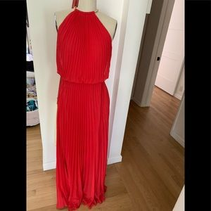 Xscape red maxi pleated dress with gold neck tie 6